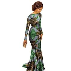 African Clothing Ankara dashiki Kanga Long-Sleeve Dress for women Cotton Wax Print Plus Size African Dashiki Dress, African Prom Dresses, African Dresses For Women, African Attire, African Traditional Wear, Traditional Dresses, Ankara Long Gown Styles, Ankara Styles, Dress Robes