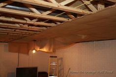 Basement Remodel – Home On Grange Hall Road Basement Ceiling Insulation, Basement Ceiling Painted, Basement Ceiling Options, Ceiling Ideas, Basement Ideas, Basement Makeover, Cheap Basement Remodel, Basement Renovations, Old Barn Doors