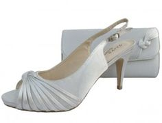 Silver Evening Shoes. Silver Wedding Shoes and Matching Clutch Bag