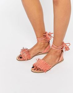 ASOS+FLASHY+Suede+Tie+Leg+Fringe+Sandals