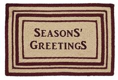 "You will love our Burgundy and Tan ""Seasons Greetings"" Rectangle Braided Rug 20x30""! It is the perfect rug for welcoming your guests at Christmastime. https://www.primitivestarquiltshop.com/products/burgundy-and-tan-seasons-greetings-rectangle-braided-rug-20x30 #MerryChristmas"