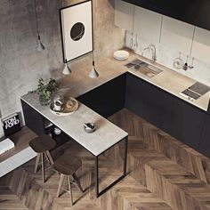 35 Amazing Small Apartment Kitchen Ideas When doing a small kitchen design for an apartment, either a corridor kitchen design or a line layout design will […] Small Room Design, Dining Room Design, Interior Design Kitchen, Small Space Interior Design, Interior Colors, Dining Decor, Home Interior, Design Design, Dining Table