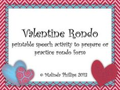 My Musical Menagerie: Valentine Rondo: activities to prepare and practice rondo form Valentine Music, Orff Activities, Music Classroom, Classroom Ideas, Valentines Day Activities, Music For Kids, Elementary Music, Teaching Music, Music Lessons
