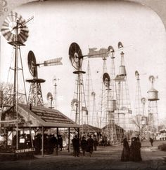 Windmills on display at the 1904 Saint Louis World's Fair.