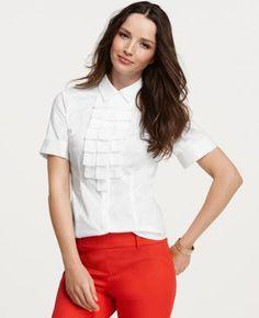 Ruffle Pleat Short Sleeve Shirt