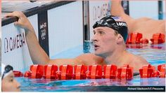 IMG 111a: American swim star, Ryan Lochte, is the most prominent image on the national ESPN Olympics coverage page. Although this photo is depicting a moment of defeat,  the photographer aims to capture a sense of American pride by featuring the national flag on Lochte's swim cap.