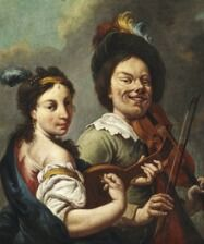 869/135 - Gerrit van Honthorst, follower of, late 17th century: A woman is playing the mandolin while a dwarf is trying to play the violin. Oil on canvas. 80 x 63 cm.