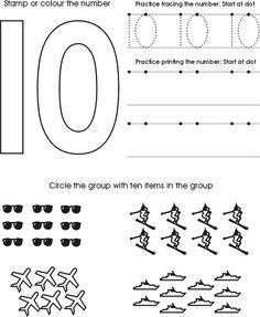 Numbers to Ten  Tracing Worksheets | Free Preschool Printable
