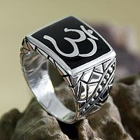 Men's sterling silver ring, 'Sanskrit Om' from @NOVICA, They help #artisans succeed worldwide.