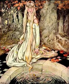 The Frog Prince by Anne Anderson, the little-known but well-respected illustrator of Arthur Rackham's time. Nice to see a female artist could thrive then, too!