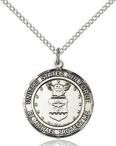US Air Force Patron Saint Michael Sterling Engravable Medal Necklace by Bliss