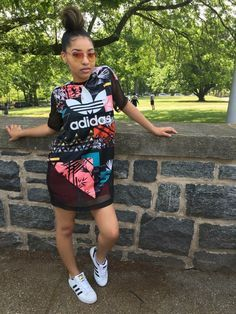 Adidas patchwork top with sneakers to match for a sporty style.