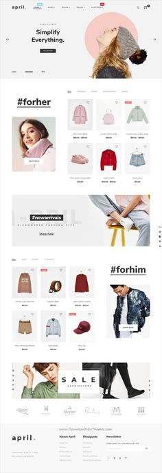 April is clean, stylish and modern design responsive WooCommerce #WordPress theme for stunning #fashion store #eCommerce website with 10+ niche homepage layouts download now..