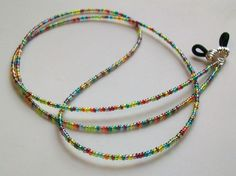 Luster Multicolor Glass Beaded Eyeglass Chain  by mswolflady