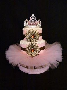 Diva Princess Cheetah Tutu Baby Diaper Cake. $80.00, via Etsy.