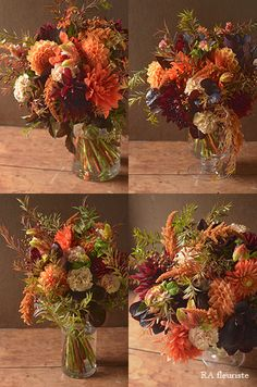 Rieko Ando RA fleuriste blog Dried Flower Arrangements, Christmas Arrangements, Dried Flowers, Flower Decorations, Table Decorations, Orange Flowers, Autumn Wedding, Color Mixing, Wedding Flowers