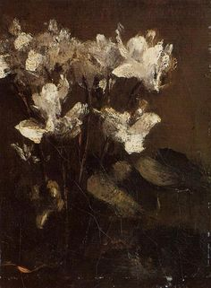 Roses in a Tall Glass, 1873 by Henri Fantin-Latour. Realism. flower painting. Private Collection