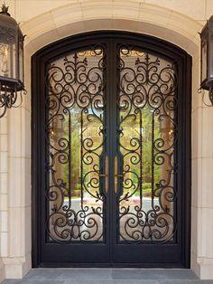 Art deco front doors art front door with exterior terracotta tile floors french doors exterior tile . Iron Front Door, Double Front Doors, Spanish Front Door, Wrought Iron Doors, Metal Doors, Glass Doors, Front Door Design, House Doors, Exterior Doors
