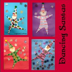Terrific Totally Free Santa Art Projects for Kids! Christmas Art Projects, Christmas Arts And Crafts, Winter Art Projects, Noel Christmas, 12 Days Of Christmas, Christmas Activities, Projects For Kids, Kindergarten Christmas, Dancing Santa