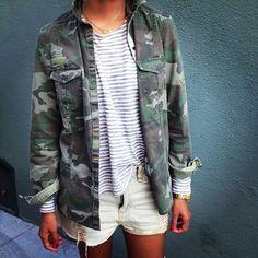 Camo jacket & stripes & cut-offs