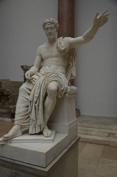Over life sized statue of a Roman Emperor (maybe Claudius) with the head of Trajan added in the early 2nd century AD, found in Pergamon, Pergamon Museum Berlin | da Following Hadrian