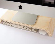 ¡VENTA!!!!!! Presupuesto de pantalla / monitor stand para IMac, teclado y ratón oportunidades de almacenamiento de información. ¡VENTA!!!!!!