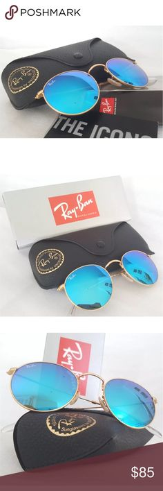 100%AUTHENTIC ray-ban round metal blue lens gold Description: Model number: RB3447             Color number: 112/17 Style: Round Metal Frame material: Metal Frame color: Gold Lenses: Blue Mirror Shape: Round Size lens-bridge: 50 21 Temple Length: 145 Size: Lens Width50mm Bridge Width21mm Arm Length145mm   Package Includes: 1 x RAY-BAN Case (black or brown - we send randomaly) 1 x RAY-BAN Cleaning Cloth 1 x RAY-BAN Informational Booklet Ray-Ban Accessories Sunglasses