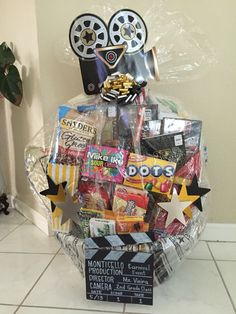 Movie Night Basket for the School Carnival - Freya Gruber - Movie Night Basket for the School Carnival Movie Night Basket for the School Carnival - Movie Basket Gift, Movie Night Gift Basket, Date Night Gifts, Movie Night Party, Movie Gift, Movie Nights, Theme Baskets, Themed Gift Baskets, Book Baskets