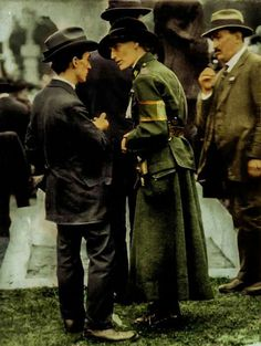 Constance Markievickz attending the funeral of Thomas Ashe.