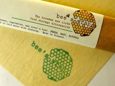 Bee's Wrap, a reusable alternative to plastic wrap. Made with organic cotton muslin, beeswax, jojoba oil, and tree resin.