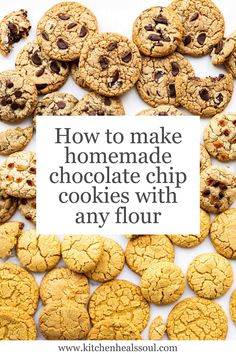 Everything you need to know about the science of chocolate chip cookies, storage, and how to adapt with alternative and gluten-free flours. Baking Recipes, Cookie Recipes, Dessert Recipes, Cookie Tips, Baking Tips, Salad Recipes, Best Chocolate Desserts, Homemade Chocolate Chip Cookies, Raw Cookie Dough