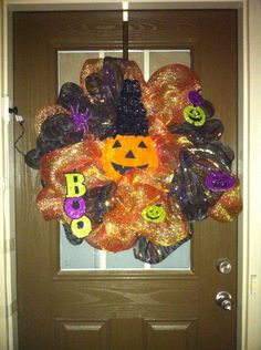 Halloween Wreath with Lights by AnnasNThings on Etsy, $65.00