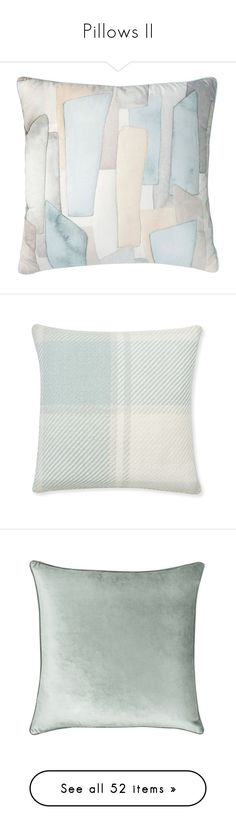 """Pillows II"" by melody-renfro-goldsberry ❤ liked on Polyvore featuring home, home decor, throw pillows, pillows, blue, sea glass home decor, blue home accessories, patterned throw pillows, square throw pillows and geometric throw pillows"