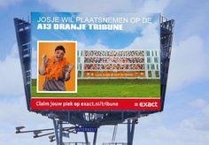 De A13 Oranje Tribune is een sympathieke EK-actie van Exact Software.    Op het hoofdkantoor, gelegen aan de A13 Delft, staat een reusachtige tribune afgebeeld waar plaats is voor 120 Oranje supporters. Bovendien wordt de voorselectie getoond op de gigantische reclamemast aan de A13. Iedere 5 minuten komt hier een andere foto voorbij.      Ook op de tribune plaatsnemen en of groots op de mega reclamemast? http://tribune.exact.nl/    www.interbest.nl snelwegreclame mega reclamemast billboard…
