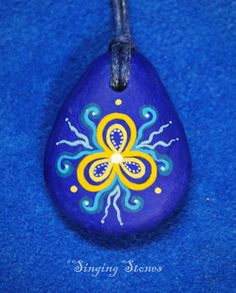 Hand painted stone necklace by SingingStonesArt on Etsy