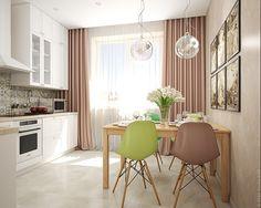 Светлая кухня в трехкомнатной квартире в Московской области.