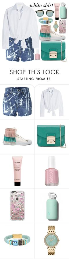 """""""Wardrobe Staples: The White Shirt"""" by fattie-zara ❤ liked on Polyvore featuring Yves Saint Laurent, Maje, BUSCEMI, Furla, Givenchy, Essie, Casetify, bkr, Michael Kors and Christian Dior"""