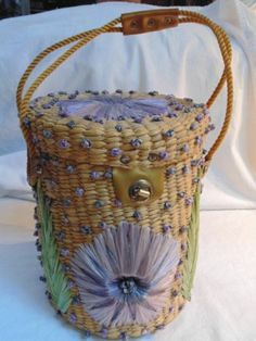 60fb40aecff Vtg 60s Huge Straw Raffia Rope Floral Basket Bucket Purse Summer Handbags,  Purses And Handbags
