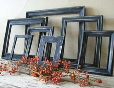 Black Frames and Bittersweet....simple, rustic Halloween decor....just add a jack o'lantern or two!
