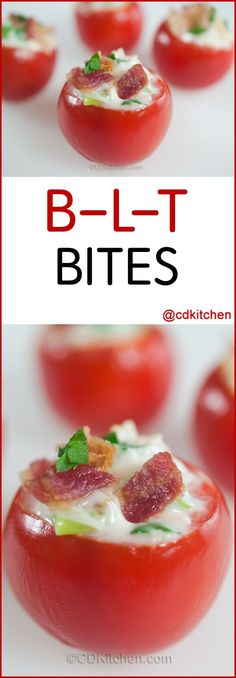 B-L-T Bites - Cherry tomatoes are filled with bacon, mayo, green onions, Parmesan cheese, and fresh parsley.| CDKitchen.com