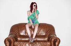 Zielona koszulka Fioletowy Hipsterski Jeleń w Mystic Machine na DaWanda.com