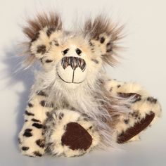 Ludwig Splodge, a spotty, happy and cuddly, one of a kind, artist teddy bear in wonderfully soft faux fur and mohair by Barbara-Ann Bears