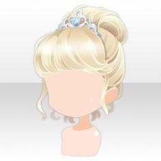 (Hairstyle) Princess Time Up Hair ver. Female Anime Hairstyles, Chibi Hairstyles, Manga Hair, Hair Illustration, Blonde Hair Blue Eyes, Cocoppa Play, Anime Princess, Flower Hair Accessories, Yellow Hair