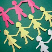 Create a chain of paper dolls by cutting multi-folded paper strips. Learn this basic paper cutting technique with paper dolls then let your imagination run wild. Cut paper chains with themes for every season and every special event. They make great decorations for parties, classrooms and your home.