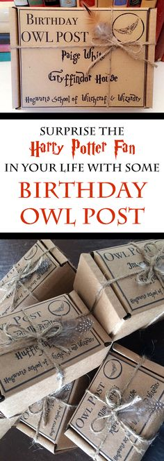 Surprise the Harry Potter fan in your life by wrapping their gift in an Owl Post box.  #ad #harrypotter #harrypotterfan #potterhead #birthday #birthdaygift #giftbox #owlpost #etsy