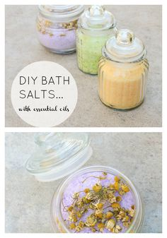 homemade relaxing bath salts with essential oils