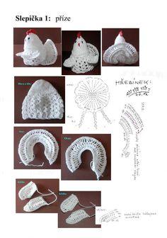 Slepičky lze zvětšit přidáním sloupků,jak šířky, tak do dél Crochet Daisy, Crochet Owls, Easter Crochet, Crochet Home, Crochet Gifts, Crochet Christmas Ornaments, Holiday Crochet, Crochet Snowflakes, Crochet Doilies