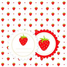 Free printable strawberry gift tags, labels or stickers and digital strawberry scrapbooking paper and embellishment. From MeinLilaPark: Clipart Erdbeere und Papier.