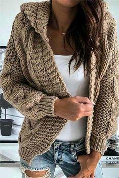 Knitt cardigan knitting coat cardigan with braidswarm dresscozy dresswinter clothing gift ideashandmade itemcover up Warm Dresses, Winter Dresses, Winter Outfits, Dress Winter, Knitted Coat, Winter Sweaters, Women's Sweaters, Handmade Clothes, Cardigans For Women