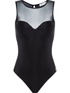 Brigitte sheer panel bodysuit
